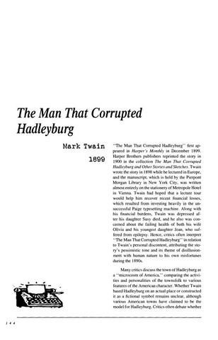 نقد داستان کوتاه   The Man That Corrupted Hadleyburg by Mark Twain