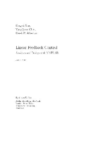 Linear Feedback Control. Analysis and Design with MATLAB
