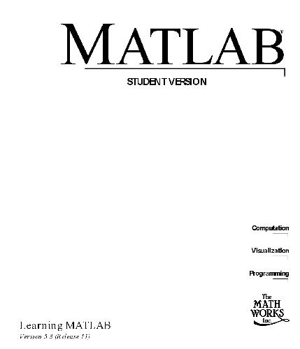 MATLAB student version: learning MATLAB version 5.3