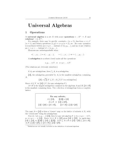 Universal Algebras
