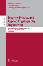 Security, Privacy, and Applied Cryptography Engineering: Third International Conference, SPACE 2013, Kharagpur, India, October 19-23, 2013. Proceeding