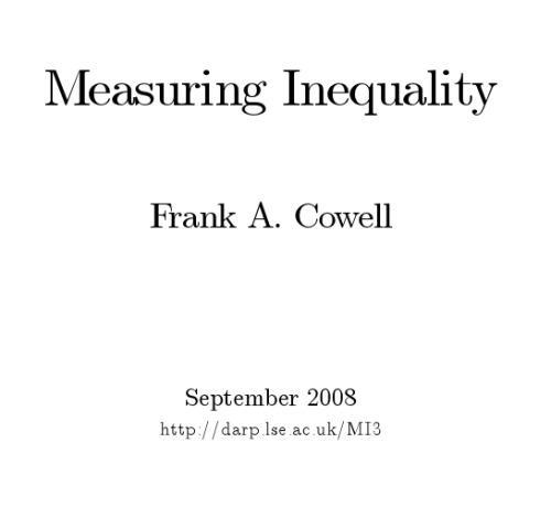 Measuring Inequality (Lse Handbooks in Economics Series)