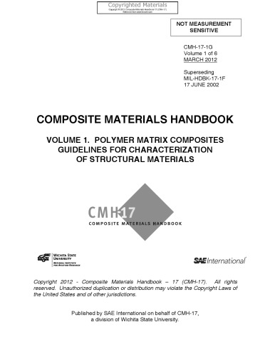 Composite Materials Handbook, Volume 1 - Polymer Matrix Composites Guidelines for Characterization of Structural Materials