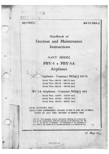 Handbook of Erection and Maint. Instructions - Navy PBY-5, 5A Aircraft [AN 01-5MA-2]