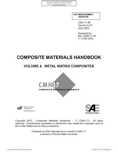 Composite materials handbook. Volume 4, Metal matrix composites