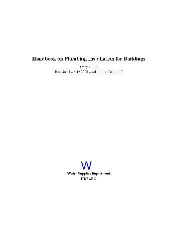 Handbook on Plumbing Installation for Buildings