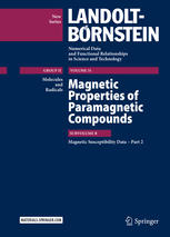 Magnetic Properties of Paramagnetic Compounds: Subvolume B, Magnetic Susceptibility Data – Part 2