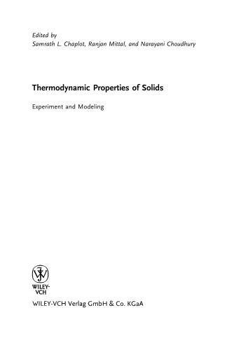 et al. Thermodynamic Properties of Solids: Experiment and Modeling