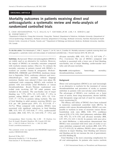 Mortality outcomes in patients receiving direct oral anticoagulants: a systematic review and meta-analysis of randomized controlled trials.