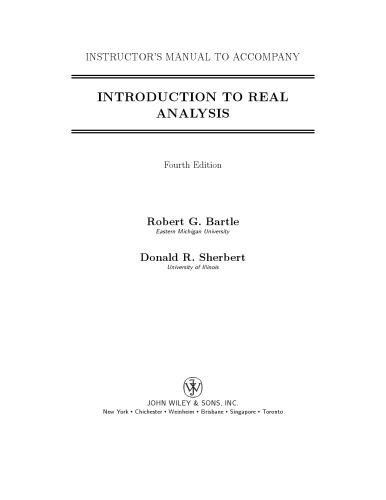 Instructors Manual - Introduction to Real Analysis