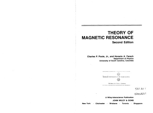 Theory of Magnetic Resonance