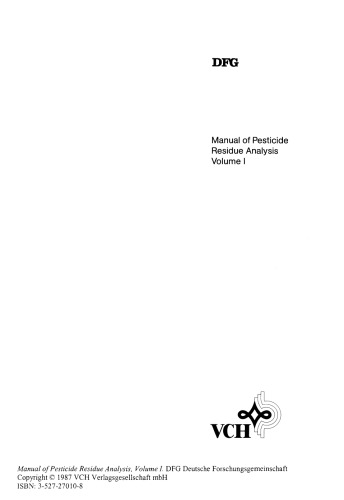 Manual of Pesticide Residue Analysis Volume 1