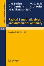 Radical Banach Algebras and Automatic Continuity: Proceedings of a Conference Held at California State University, Long Beach, July 17–31, 1981