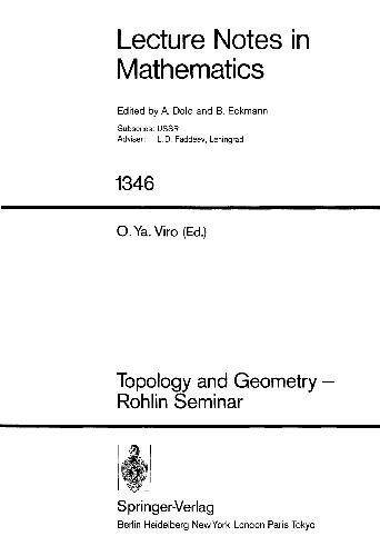 Topology and Geometry: Rohlin Seminar