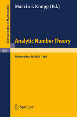 Analytic Number Theory: Proceedings of a Conference Held at Temple University, Philadelphia, May 12–15, 1980