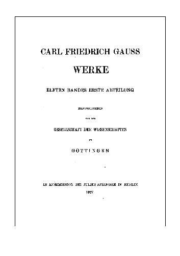 Werke Band 11 Abt 1 Nachtrage Zur Physik Chronologie Und Astronomie