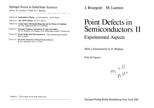 Point Defects in Semicondoctors II