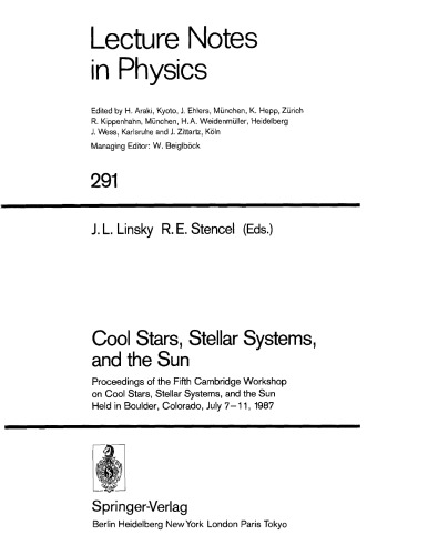 Cool stars, stellar systems, and the sun : proceedings of the Fifth Cambridge Workshop on Cool Stars, Stellar Systems, and the Sun, held in Boulder, C