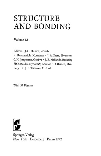 Structure and Bonding, Volume 12