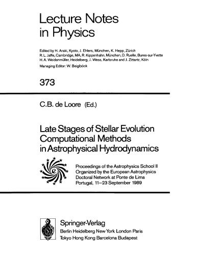 Late Stages of Stellar Evolution - Computational Methods in Astrophysical Hydrodynamics