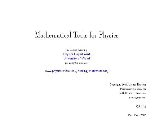 Nearing  Mathematical methods (free web version, wide screen
