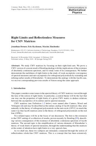 Communications In Mathematical Physics - Volume 292