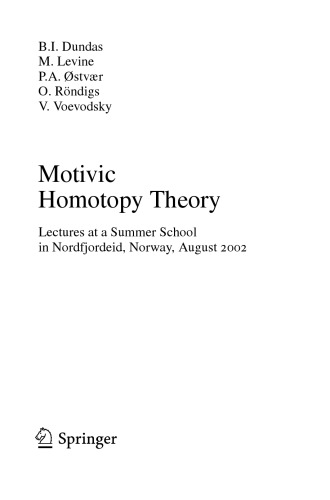 Motivic homotopy theory : lectures at a summer school in Nordfjordeid, Norway, August 2002