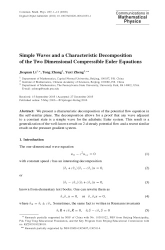 Communications In Mathematical Physics - Volume 267