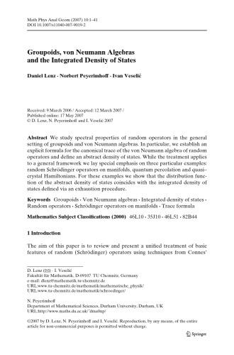 Mathematical Physics, Analysis and Geometry - Volume 10