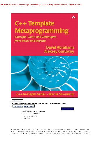 C++ Template Metaprogramming Concepts Tools and Techniques from Boost and Beyond