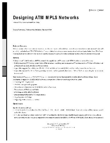 Cisco Designing ATM MPLS Networks