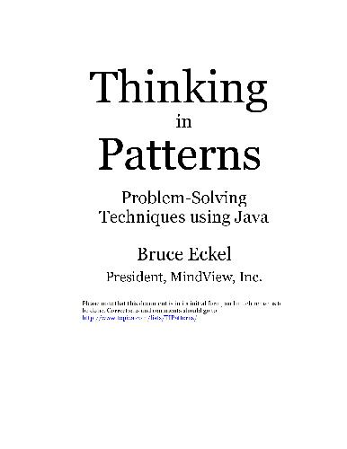 Thinking In Patterns - Problem-Solving Techniques Using Java