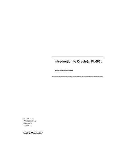 Introduction to Oracle9i - PL SQL Additional Practices