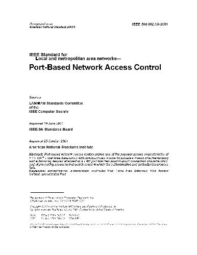 Ieee Std 802.1X-2001 Port-Based Network Access Control