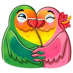 پک  آماده ساخت استیکر 36 عددی عشق پرنده ای