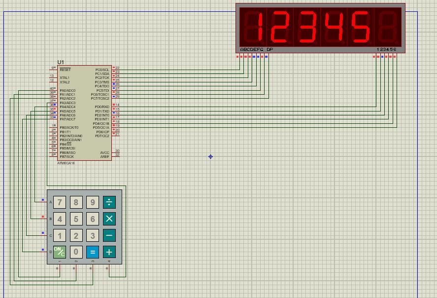 پروژه نمایش عدد 5 رقمی روی سون سگمنت با keypad با