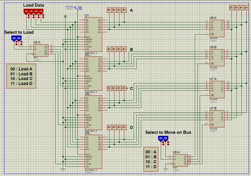 طراحی باس برای ارتباط 4 ثبات 4 بیتی با کمک بافر 3 حالته