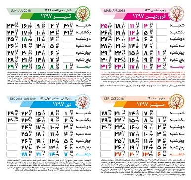 طرح لایه باز تقویم سال جدید 1397 (شماره 1)