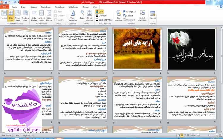پاورپوئینت ppt در مورد آشنایی با آرایه های ادبی زبان فارسی - 14اسلاید