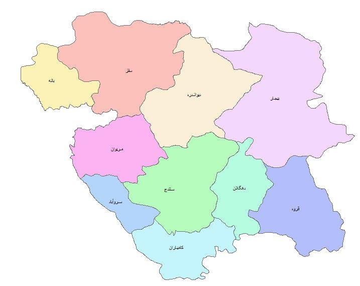 نقشه GIS استان کردستان
