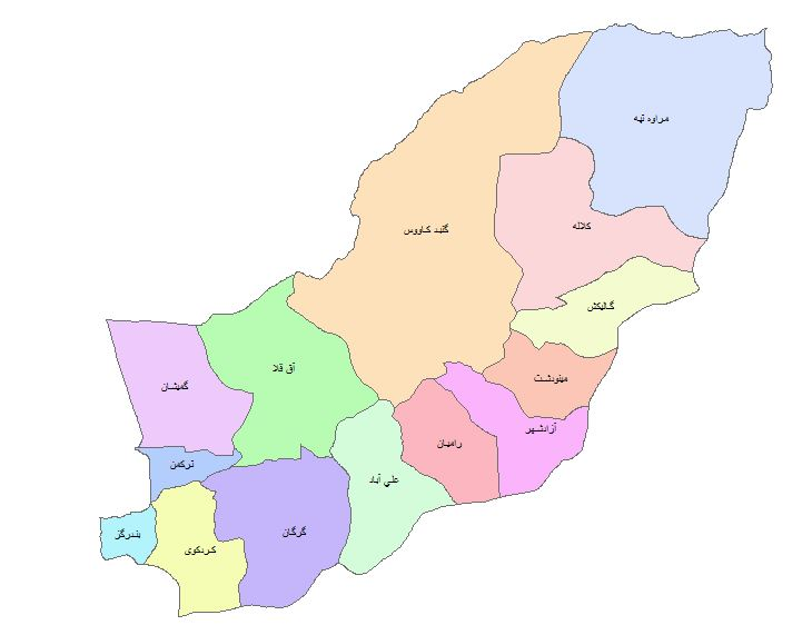 نقشه GIS استان گلستان