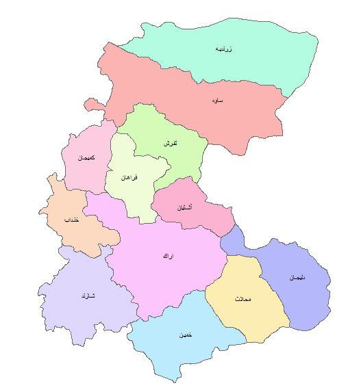 نقشه GIS استان مرکزی