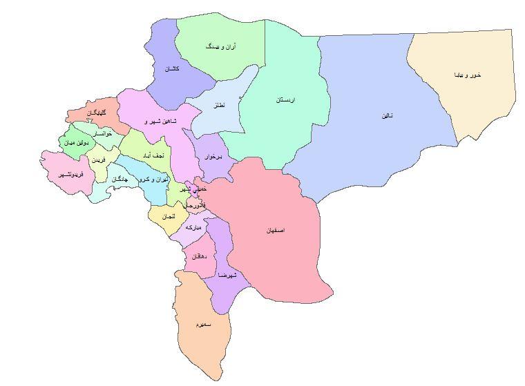 نقشه GIS شهرستان های استان اصفهان