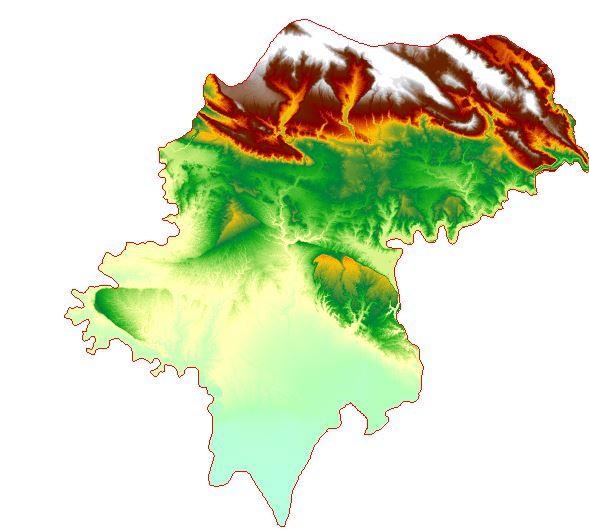 نقشه مدل رقومی ارتفاع (DEM) شهرستان اندیمشک