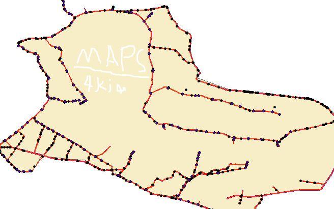 نقشه های GIS مشخصات شبکه آبیاری آبشار  استان اصفهان