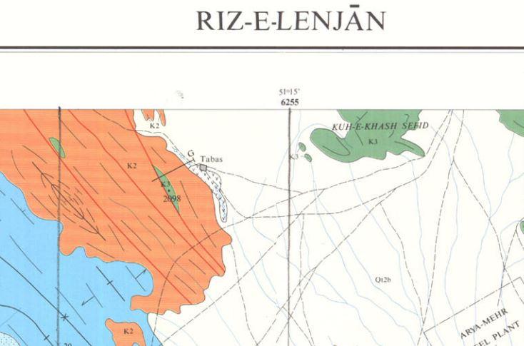 نقشه زمین شناسی لنجان(1:100000)