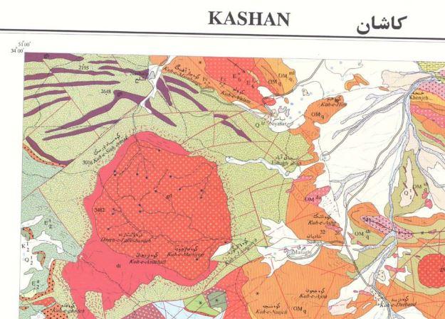 نقشه زمین شناسی کاشان(1:100000)