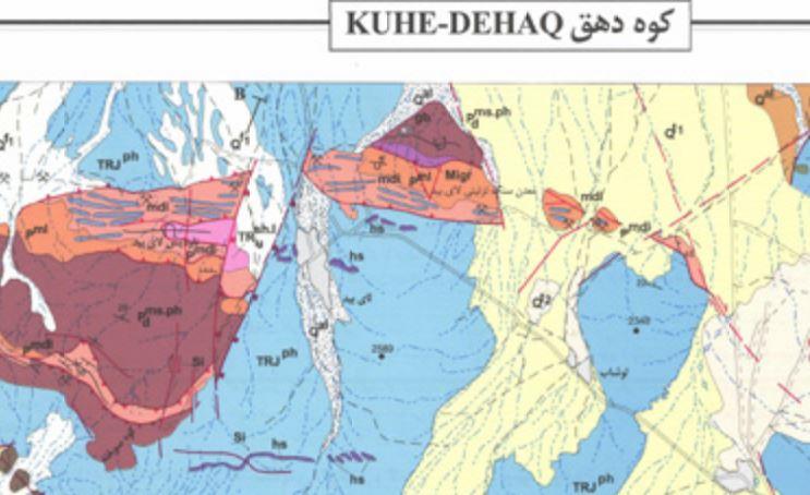 نقشه زمین شناسی  کوهدهق(1:100000)