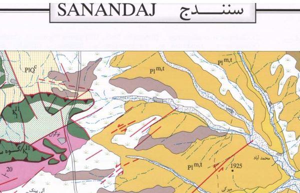 نقشه زمین شناسی سنندج (1:100000)