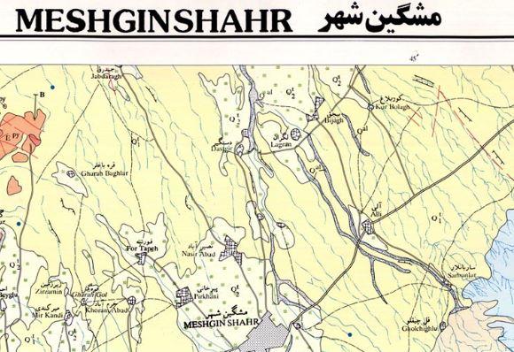 نقشه زمین شناسی مشکین شهر (1:100000)